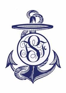 Custom monogrammed anchor I made in Photoshop with mom and dad's  monogram. I used this on votives, and other items for their 50th Anniversary party.