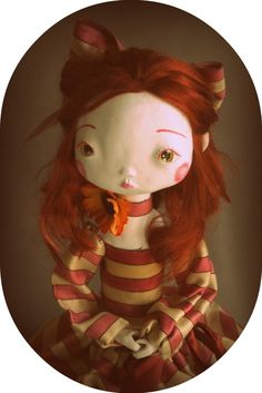 "Cute little Auburn haired art doll ~ ""Honorine & the Secret Garden"" by Alicia Gaultier of The Doll & The Pea on etsy"