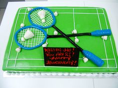 3D Badminton Cake (Min 2.5kg) | Montreux Cakes Badminton, Sports Themed Cakes, Sport Cakes, Candy Crafts, Cupcake Cakes, Cupcakes, Creative Food, Good Mood, Cake Designs