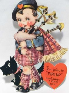 J1103 30s Scottish Boy in Kilt-Scottie Dog-Vintage Unused Diecut Valentine Card