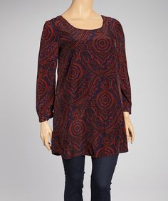 Navy & Burgundy Flourish Tunic - Plus