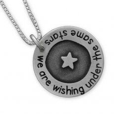 Under the Stars Necklace - Etched Circle of Love $68