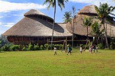 open air bamboo building Internationsl Green School in Bali