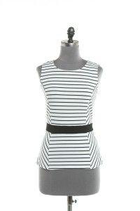 Black & White Stripe Peplum Top