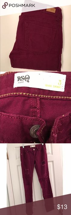 RSQ Destroyed Skinny Gently worn, good condition. Adorable maroon destructed skinny. Tilly's Jeans Skinny