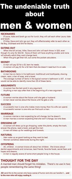Truth about men & women. Lol so true