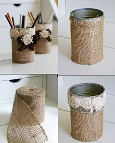 tin can crafts, two tin cans wrapped in burlap, decorated with fabric roses and … - DIY Ideen Tin Can Crafts, Diy Home Crafts, Creative Crafts, Diy Crafts To Sell, Crafts With Tin Cans, Home Craft Ideas, Decor Ideas, Sell Diy, Wall Ideas