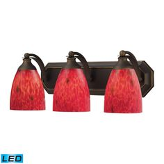 Bath And Spa 3 Light LED Vanity In Aged Bronze And Fire Red Glass 570-3B-FR-LED