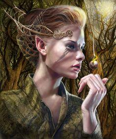 Artistic elf. forest wood elves. Elven.