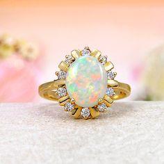 14k Yellow Gold Diamond, Rainbow Fire Solid Australian Crystal Opal Ring    #opalring