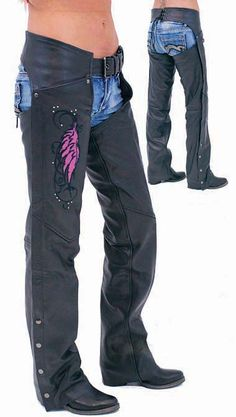 63981eee027089 Pink Wings Leather Chaps for Women with Pant Pockets Harley Davidson Gear
