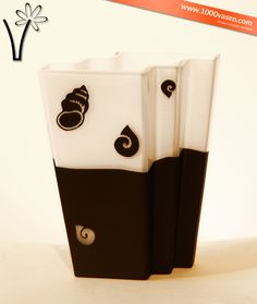 Vase Mina weiss-schwarz mit Muster Vases, Patterns, Black, Nice Asses