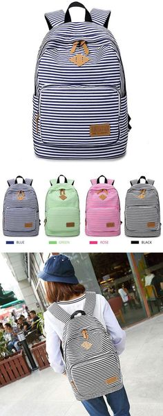 Which color do you like? Stripe High School Bag Rucksack Trunk Student Travel Canvas Backpack #backpack #stripe #trunk #school #college #bag