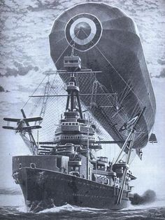 Zeppelin moored to gigantic steamer with buzzing biplanes - Boing Boing