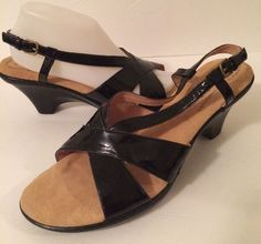 Soft spots Women's Black Strappy Heels size 11 N #Softspots #PlatformsWedges #Casual