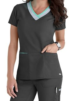 Greys Anatomy Color Block V-neck Scrub Tops Main Image Dental Scrubs, Medical Scrubs, Nursing Scrubs, Scrubs Outfit, Scrubs Uniform, Cute Scrubs, Greys Anatomy Scrubs, Medical Uniforms, Nursing Uniforms
