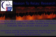 Douglas County Relay for Life 2014 Kickoff is Tues, Jan 21st! Learn how you can help raise money for cancer research!