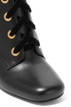 Prada - Lace-up Leather Ankle Boots - Black