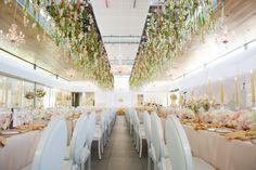 Biko wedding lavish hanging installation by Flowers in the Foyer. Photo by Ryan Graham Hanging Flower Arrangements, Hanging Flowers, Foyer, Graham, Table Decorations, Wedding, Furniture, Home Decor, Valentines Day Weddings