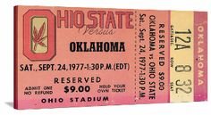 A classic battle in Columbus. 1977 Ohio State football ticket art. The best Ohio State football tickets turned into the best football gifts at http://www.shop.47straightposters.com/1977-OKLAHOMA-VS-OHIO-STATE-Football-Ticket-Art-77OKOSU.htm