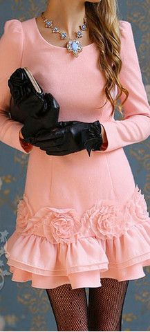 ROSETTE TRIM FLOUNCING DRESS - LIGHT PINK | The Style Mob