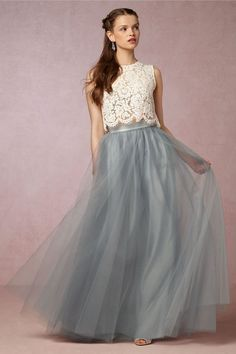 tulle bridesmaid skirt with lace top separate with scalloped hem