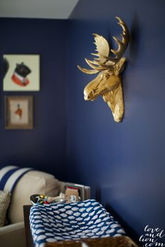 Gallery Roundup: Navy Nurseries Project Nursery – Navy Nursery with Gold Accents – Project Nursery Deep blue paint color with rustic frames Boy Nursery Colors, Navy Nursery, Nursery Room, Nursery Rhymes, Nursery Decor, Nursery Ideas, Bedroom Colors, Bedroom Ideas, Navy Paint