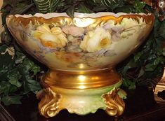 Exquisite Limoges Signed Punch Bowl With Magnificent Roses and Matching Plinth