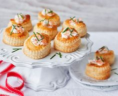 The woody-smokiness of salmon and the delicate fragrance of chives are mixed with luxurious soured cream in this elegant canapé.| Tesco