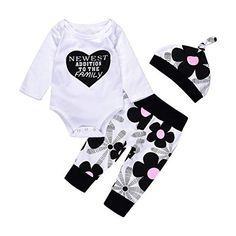 Matoen Baby Girls Boy Outfits Clothes,Newborn Love Tops T-Shirt+Floral Pants Headand