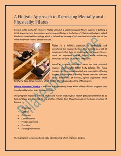 A Holistic Approach to Exercising Mentally and Physically: Pilates