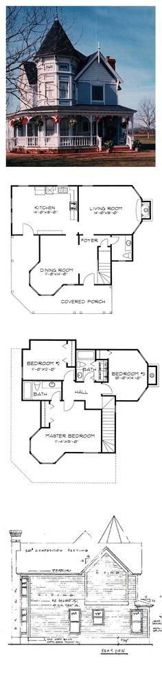 Victorian Style COOL House Plan ID: chp-6207 | Total Living Area: 1691 sq. ft., 3 bedrooms & 2.5 bathrooms. #houseplan #victorianstyle