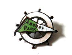 Antique Asbury Park Souvenir Green and White by bigbangzero, $34.00