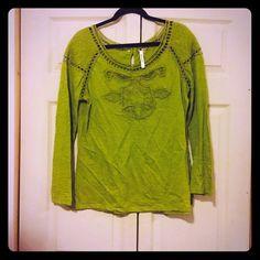 Boutique blouse Green colored boutique blouse. Knit detail. Availability : large (1) Tops Blouses