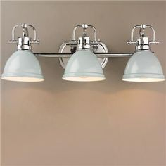 Classic Dome Shade 3 Socket Vanity Light A simple yet classic style in vibrant and traditional colors. This bathroom vanity fixture will add a crisp clean look to your bathroom. A great choice for tra Vanity Light Fixtures, Bathroom Vanity Lighting, Bathroom Styling, Bathroom Fixtures, Bathroom Ideas, Bathroom Remodeling, Bathroom Inspiration, Mid Century Modern Bathroom, Modern Master Bathroom