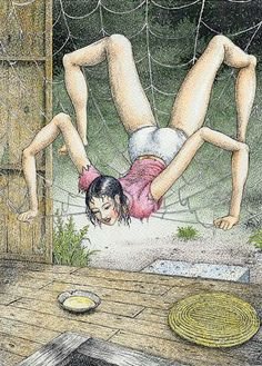 "klubbhead: "" red-faced-wolf: "" redlipstickresurrected: ""Asaji Muroi aka 室井亜砂二 (Japanese, b. Tokyo, Japan) - Unknown Title "" future wife"" Kill it before it lays eggs "" Creepy Art, Weird Art, Arte Horror, Horror Art, Arte Lowbrow, Ero Guro, Vintage Horror, Japan Art, Tokyo Japan"