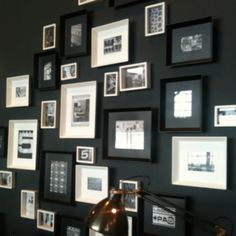Black and white photoframes with band photos Interior Decorating, Decorating Ideas, Interior Design, Home And Living, Living Room, Black And White Interior, White Interiors, Band Photos, Frames On Wall