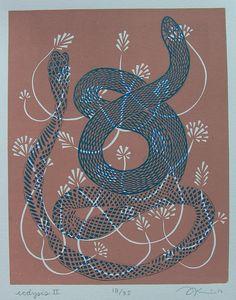 Ecdysis II - Linocut Print - Snake / Serpent / Shedding Skin / Scales / Blue / Dusty Rose Pink / Renewal / Regeneration   AiJung Kim