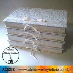 Caixa Convite - Atelier Wesley Felício #CaixaConvite #Casamento #Padrinhos #Presente #Artesanato #Crafts #Wediings #Renda