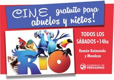 """#Cine y pochoclos #gratis! Mañana proyectaremos la película """"RÍO"""" para que #abuelos y #nietos disfruten juntos"""