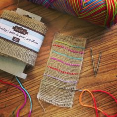 Beginner Weaving Project with Burlap. Little prep, little cost, pretty results! #weaving