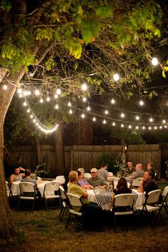 Backyard Birthday Party: Beautiful ambiance with outdoor lights! Backyard Birthday Parties, Backyard Party Decorations, Birthday Bbq, Outdoor Birthday, 70th Birthday Parties, Birthday Party Celebration, Birthday Woman, Anniversary Parties, Birthday Party Decorations