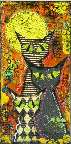 "Mixed Media - ""Three Cats in the Night"" ~ Get #Cat #Magazine OZZI CAT >> http://OzziCat.com.au"