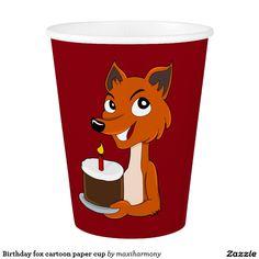 Birthday fox cartoon paper cup