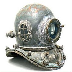 corroded old diving helmet