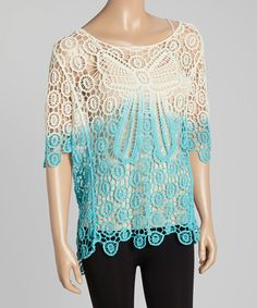 Love this Turquoise & Cream Dip-Dye Crochet Tunic by Aqua Blue on #zulily! #zulilyfinds