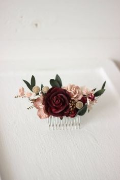 Burgundy blush gold Bridal flower comb Hair clip Fall wedding Floral headpiece Rustic Bridesmaid flower accessories Hair flowers Hair piece - New Ideas Bridal Hair Pins, Hair Comb Wedding, Wedding Hair Pieces, Bridal Comb, Bridal Nails, Wedding Nails, Bridesmaid Flowers, Bridal Flowers, Flowers In Hair