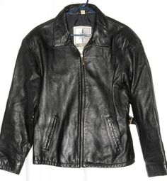 "Middlebrook Park Black Leather Jacket Size M Fits up to 44"" Chest Free Shipping"