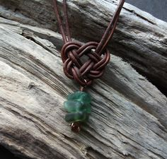 Scottish SeaGlass and Leather Celtic Knot Necklace - Seaglass - copper -Surfer  £10.00