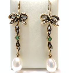 Jewellery 9ct Yellow Gold Emerald and Cultured Freshwater Pearl and Seed Pearl Bow Drop Hook Wire Earrings Antique Vintage Reproduction £325.00 Contact us at www.facebook.com/ellisondavisjewellery for more information